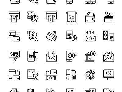 Set of 24 Payment, money, finance, card icons wallet design line vector pack set icon commerce currency banking debit cash credit card coin pay money finance business payment