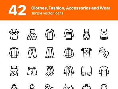 42 Clothes, Fashion, Accessories and Wear Icons Set