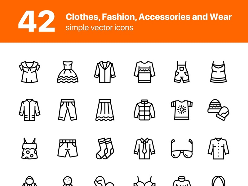 42 Clothes, Fashion, Accessories and Wear Icons Set style shirt scarf purse pullover pants panties mitten jacket icon hoodie hat fashion collection clothing clothes bra bikini bag accessories