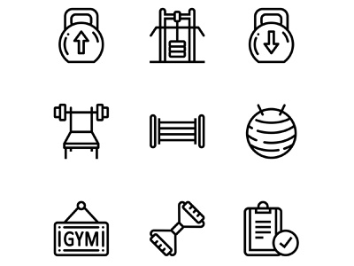 Workout, Fitness, Gym Icons Set 4 simple set outline nutrition line icon healthy health gym flat fitness fit expander exercise equipment diet clipboard barbell ball athletic