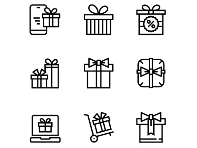 Gift, Present, Surprise Vector Icons Set 3 sign set ribbon present pictogram packaging package outline line knot isolated illustration icon holiday gift event celebration box bow birthday