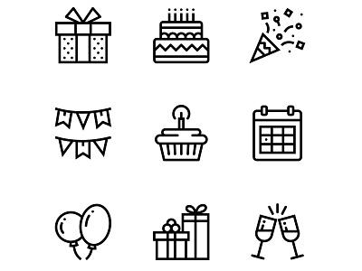 Birthday, Event, Celebration Icons Set 1 happy gift fun flat flag fireworks firework event enjoy drink date champagne celebration celebrate calendar cake box birthday birth balloon