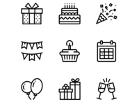 Birthday, Event, Celebration Icons Set 1