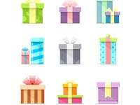 9 Colorful vector flat boxes with ribbons
