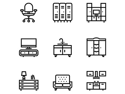 Furniture, Decor, Interior Vector Simple Icons Set 5 mirror line laptop interior icon house home furniture equipment elements element decorative decoration decor couch collection classic chair bed apartment