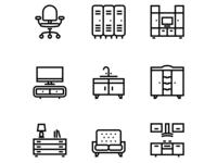 Furniture, Decor, Interior Vector Simple Icons Set 5