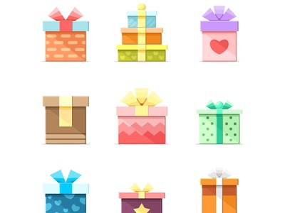 9 Colorful vector flat boxes with ribbons set 2