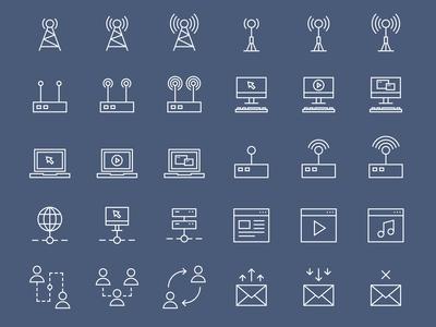 42 Simple Line Internet Icons