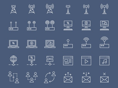 42 Simple Line Internet Icons network mobile media line laptop label internet icon global flat firewall email element download connection computer communication collection cloud computing application