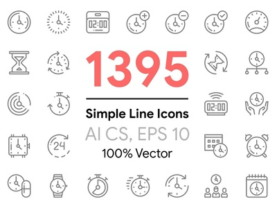 1395 Simple Line Icons Pack internet support watch time xmas toys kids electronics cook food wear dress mining cryptocurrency business finance wedding delivery icons vector