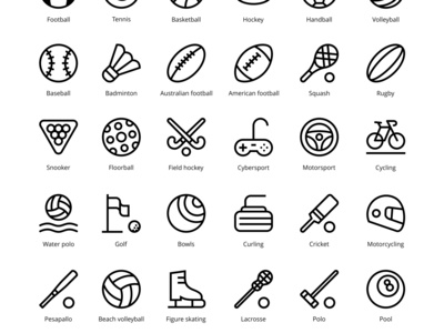 42 Sport simple outline vector icons