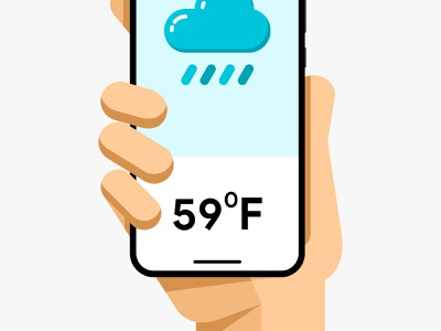Smartphone mockup in human hand. Weather temperature application mockup cold rain weather app iphone illustration android ios ui interface mobile vector design