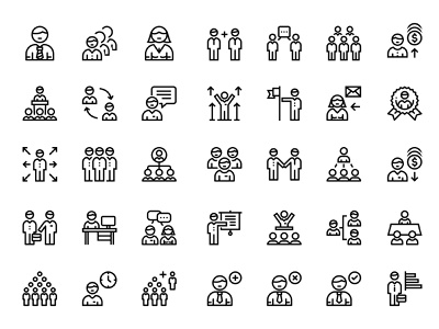 Business people, meeting, team icons interface people finance teamwork meeting manager work team business set icons design vector