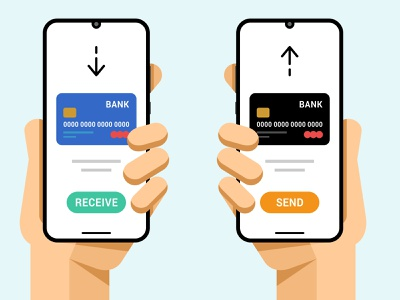 Smartphones with credit card transaction operation ui android ios wallet operation visa mastercard receive send debit card credit business finance transaction money application