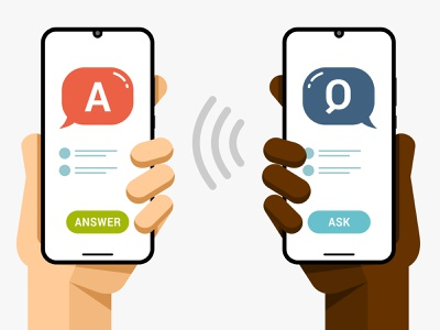 Question and answer. Online support via chat application samsung xiaomi answer question help online support iphone vector ios ui android mobile interface design