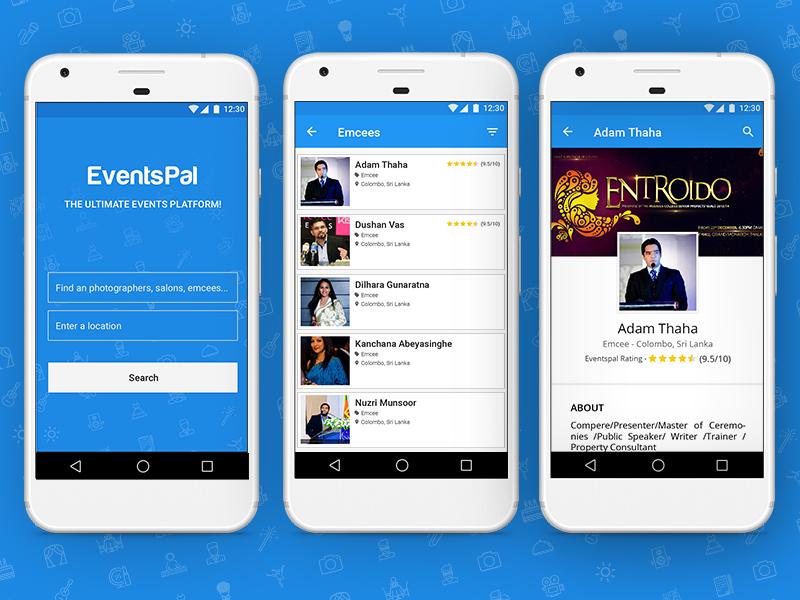 EventsPal - Mobile App vendors event events app mobile app ui
