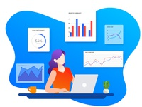 Working desk with analytics