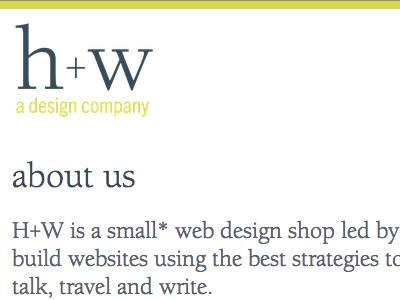 h+w design - new site design website typography logo