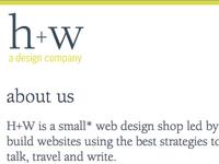 h+w design - new site design