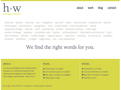 h+w design home page website typography berkeley trade gothic