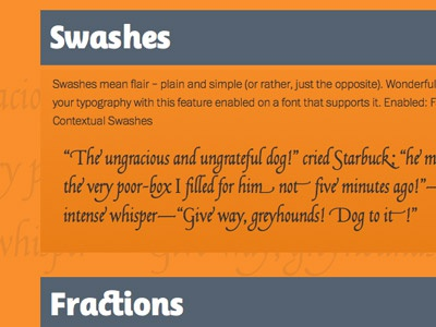 Open Type Features Demo web fonts typography swashes ligatures
