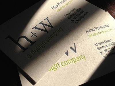 Letterpress Cards for H+W letterpress typography business card logo