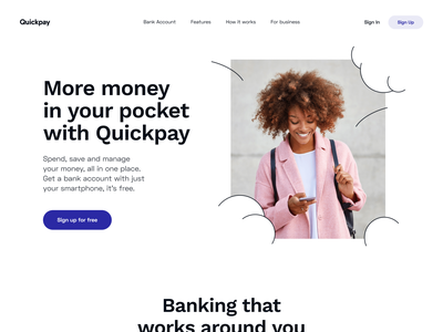 Quickpay: Landing Page homepage e-finance fintech website web marketing page credit finance product design payments product page banking app ladning page