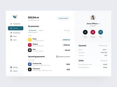 Weepaid: Overview screen identity ux send money transactions interface branding saas product design ui payments fintech finance