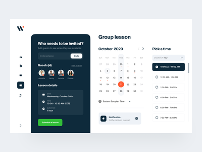 Walley: Scheduling lessons identity design visual identity user interface calendar e-learning education interface web saas ui product design schedule app learning edtech