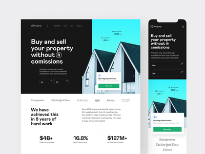 Property: web + mobile website property management apartment real estate product design rental property branding hero image landing page app architecture property