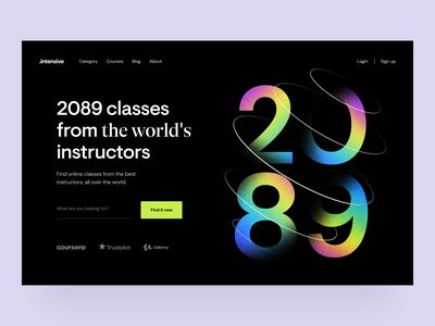 Intensive: Header exploration edtech teach lessons visual identity identity design landingpage hero section web education online education e-learning courses