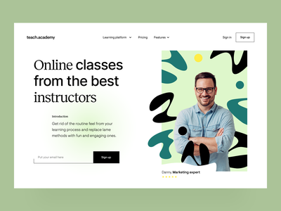 teach.academy: landing page branding identity design visual design website edtech e-learning hero page landing page