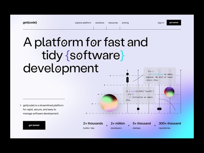 getcode: landing page software development hero page web site landingpage webpage web branding visual identity landing page