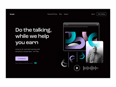 Web design: Podcast landing page visual identity podcasts hero section website web web page landing page brand identity branding