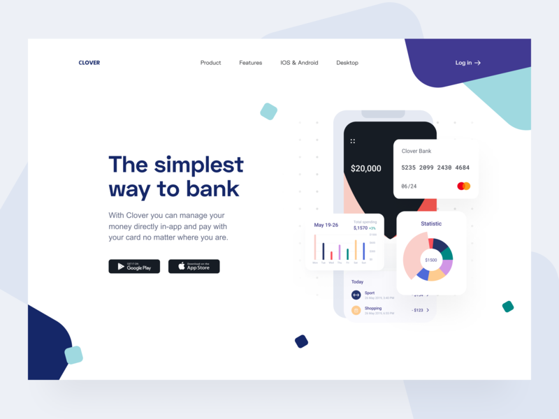 Neobank: Hero section ui payments product hero image web finance banking app landing page