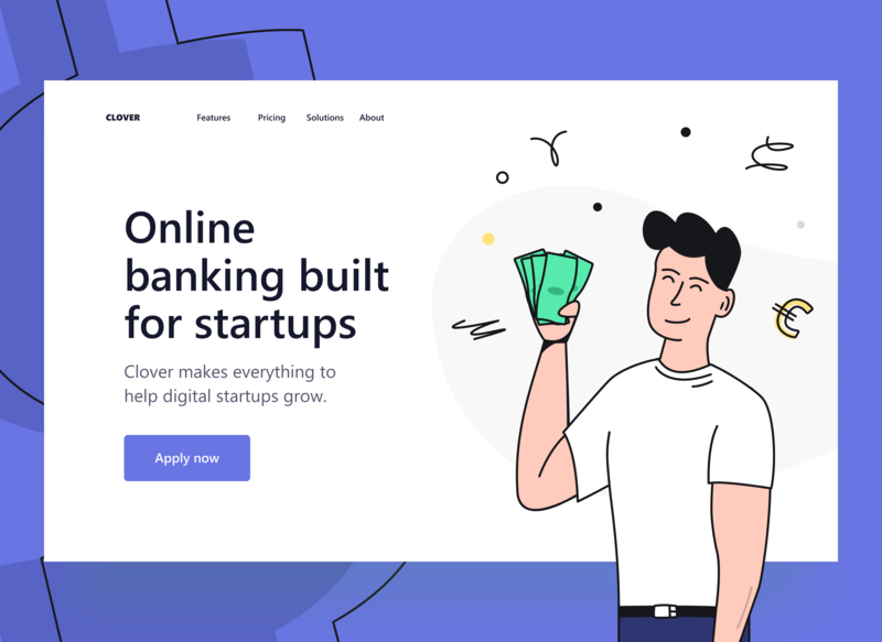 Bank for startups: Hero Section by Vadim Drut for Heartbeat