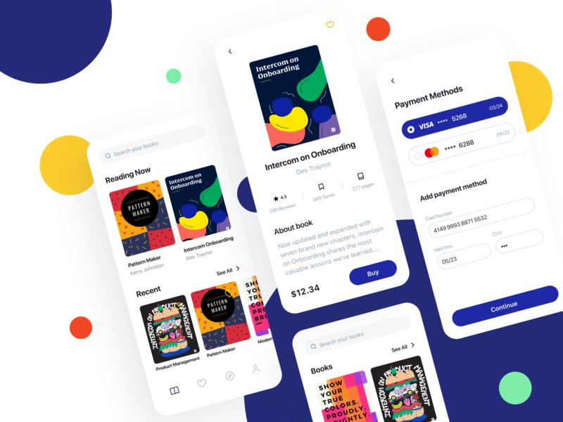 Reading app payment method concept billing ios reading color payments fintech finance design app ui