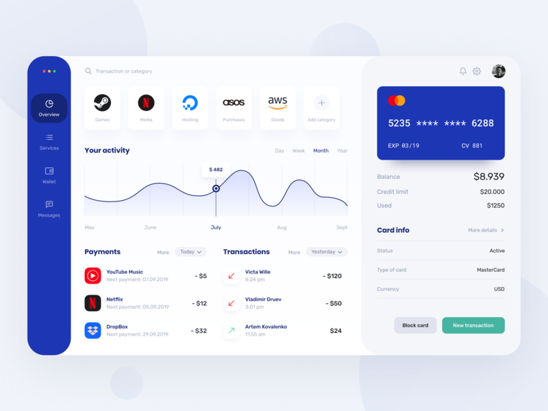 Dashboard overview fintech web payment menthod finance bank ui ux bank account statistics dashboard account payments