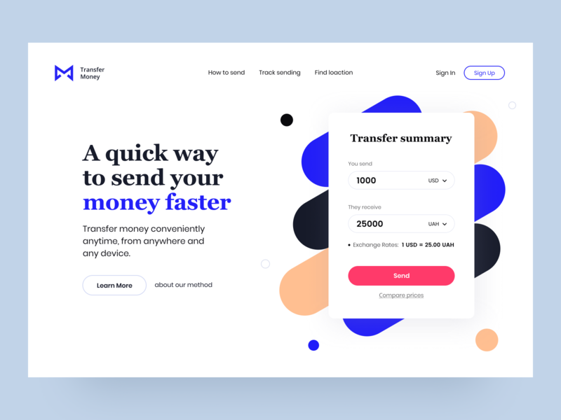 MoneyTransfer - Hero section landing page online service transaction send transfer main payments web fintech ux finance ui