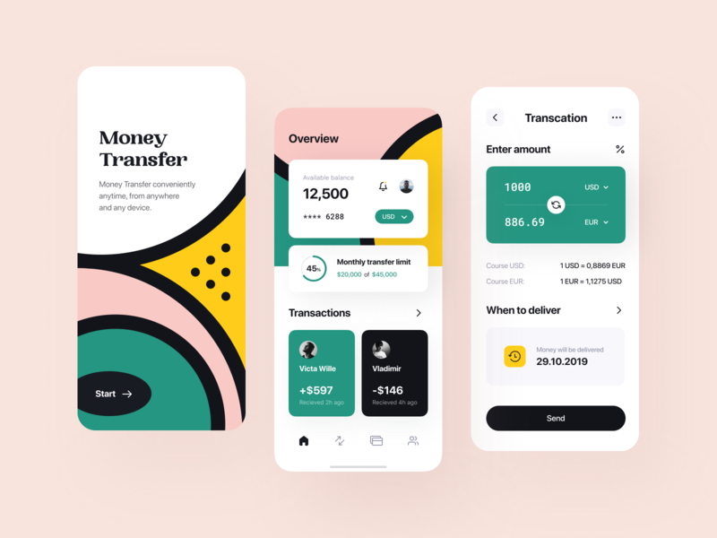 Warm money transfer app lend lending saas dashboard transactions finance product design services balance transfer fintech overview cash financial app product service payments uiux
