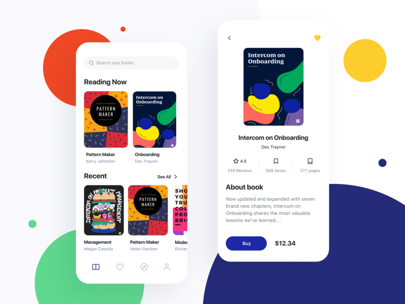 Reading App design branding app main ux product startups books payments ui