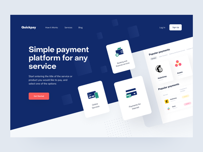 Quickpay: Hero section financial services e-finance dashboard online wallet transactions lend lending saas product page online service product main landing page app web payments fintech finance