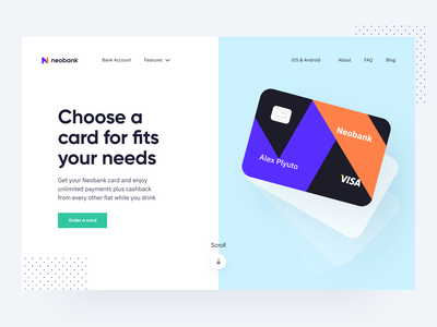 Neobank: Hero section digital web page website hero section lend banking bank online service startup credit card saas product main landing page design app web payments finance fintech