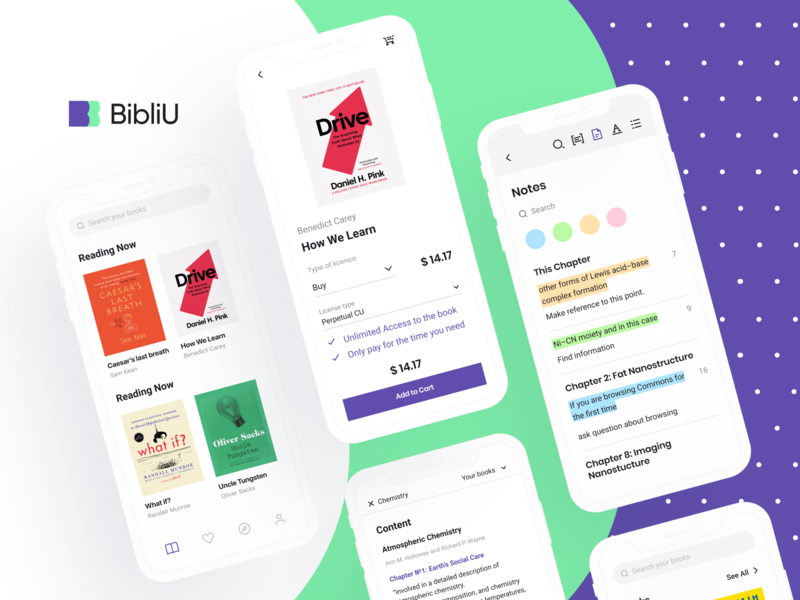 BibliU: Mobile App books web visual identity e-learning identity design knowledge textbook product design artificial intelligence audiobooks ed-tech