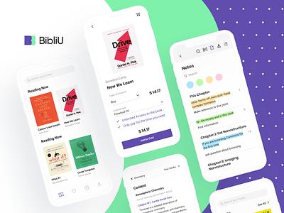 BibliU: Mobile App books web visual identity e-learning identity design knowledge textbook product design artificial intelligence audiobooks ed-tech
