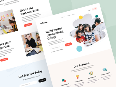 Collaba: Landing page overview product page saas brand design product design collaborative platform collaborative work app design web landing landing page