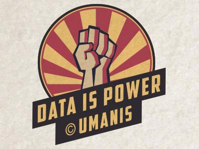 Data is power by Umanis sticker power fist constuctivism