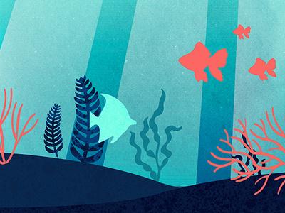 Under the sea texture flat water fish sea design graphicdesign digital illustration