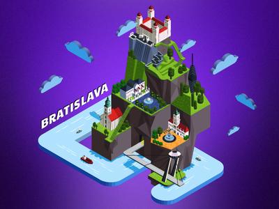 Isometric illustration. The sights of the Bratislava city