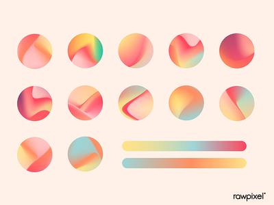 Summer gradient social media template vector set